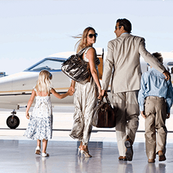 Family about to board a plane